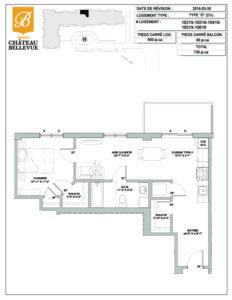 Château Bellevue Amqui – résidence pour aînés – plan logement 2½ O