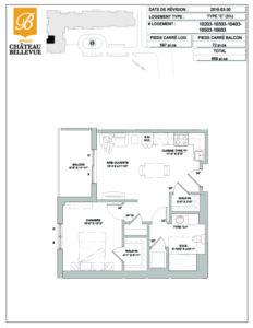 Château Bellevue Amqui – résidence pour aînés – plan logement 3½ C