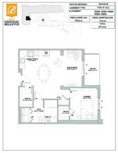 Château Bellevue Amqui – résidence pour aînés – plan logement 3½ D