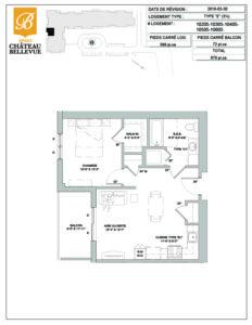 Château Bellevue Amqui – résidence pour aînés – plan logement 3½ E