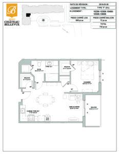 Château Bellevue Amqui – résidence pour aînés – plan logement 3½ F