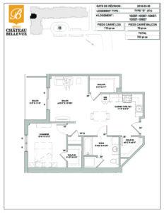 Château Bellevue Amqui – résidence pour aînés – plan logement 3½ G