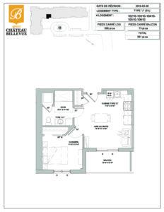 Château Bellevue Amqui – résidence pour aînés – plan logement 3½ J