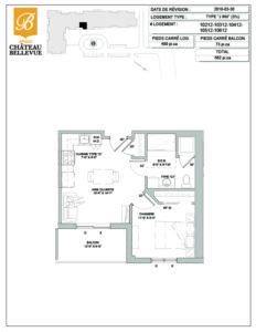 Château Bellevue Amqui – résidence pour aînés – plan logement 3½ J inversé