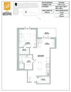 Château Bellevue Amqui – résidence pour aînés – plan logement 3½ K