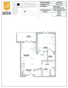 Château Bellevue Amqui – résidence pour aînés – plan logement 3½ L