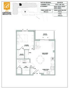 Château Bellevue Amqui – résidence pour aînés – plan logement 3½ L inversé