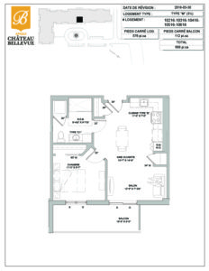 Château Bellevue Amqui – résidence pour aînés – plan logement 3½ M