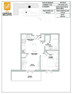 Château Bellevue Amqui – résidence pour aînés – plan logement 3½ M inversé