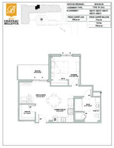 Château Bellevue Amqui – résidence pour aînés – plan logement 3½ N