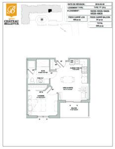 Château Bellevue Amqui – résidence pour aînés – plan logement 3½ P
