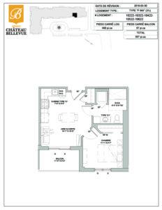 Château Bellevue Amqui – résidence pour aînés – plan logement 3½ P inversé