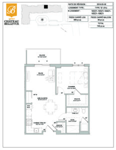 Château Bellevue Amqui – résidence pour aînés – plan logement 3½ Q