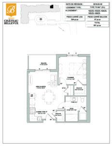 Château Bellevue Amqui – résidence pour aînés – plan logement 3½ R inversé