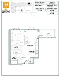 Château Bellevue Amqui – résidence pour aînés – plan logement 3½ T