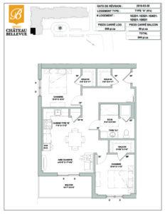 Château Bellevue Amqui – résidence pour aînés – plan logement 4½ A