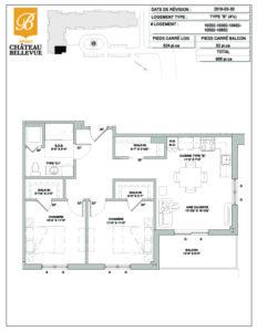 Château Bellevue Amqui – résidence pour aînés – plan logement 4½ B