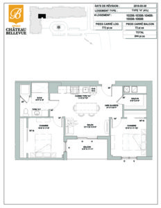 Château Bellevue Amqui – résidence pour aînés – plan logement 4½ H