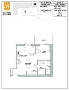 Château Bellevue Amqui – résidence pour aînés – plan logement Studio U