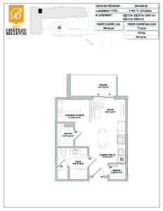 Château Bellevue Amqui – résidence pour aînés – plan logement Studio V