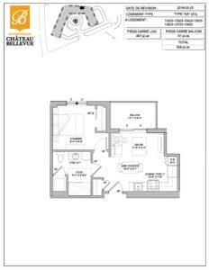 Château Bellevue Shawinigan – résidence pour aînés – plan logement 3½ AA