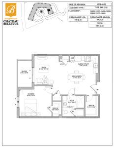 Château Bellevue Shawinigan – résidence pour aînés – plan logement 3½ BB