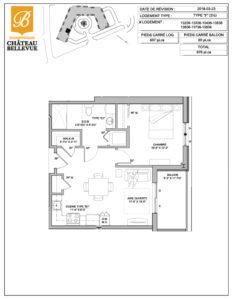 Château Bellevue Shawinigan – résidence pour aînés – plan logement 3½ F