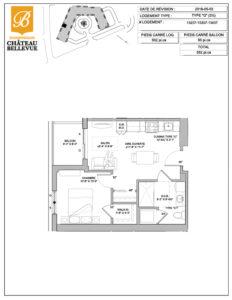 Château Bellevue Shawinigan – résidence pour aînés – plan logement 3½ G