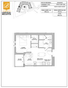 Château Bellevue Shawinigan – résidence pour aînés – plan logement 3½ G inversé