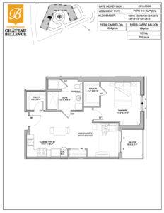 Château Bellevue Shawinigan – résidence pour aînés – plan logement 3½ H1 inversé