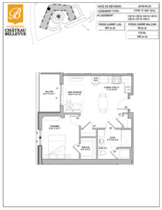 Château Bellevue Shawinigan – résidence pour aînés – plan logement 3½ I1 inversé