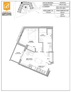 Château Bellevue Shawinigan – résidence pour aînés – plan logement 3½ K