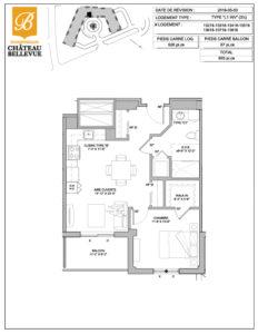 Château Bellevue Shawinigan – résidence pour aînés – plan logement 3½ L1 inversé