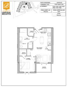Château Bellevue Shawinigan – résidence pour aînés – plan logement 3½ M inversé