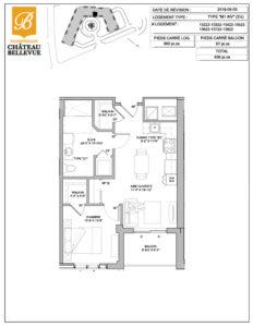 Château Bellevue Shawinigan – résidence pour aînés – plan logement 3½ M1 inversé