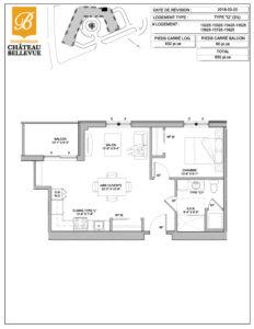 Château Bellevue Shawinigan – résidence pour aînés – plan logement 3½ Q
