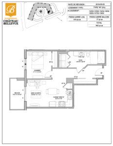 Château Bellevue Shawinigan – résidence pour aînés – plan logement 3½ W