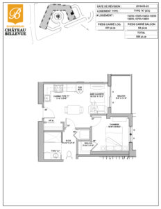 Château Bellevue Shawinigan – résidence pour aînés – plan logement 3½ X