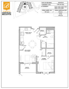 Château Bellevue Shawinigan – résidence pour aînés – plan logement 3½ M