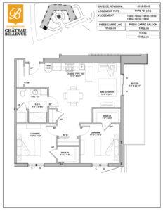 Château Bellevue Shawinigan – résidence pour aînés – plan logement 4½ B