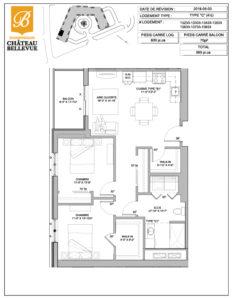 Château Bellevue Shawinigan – résidence pour aînés – plan logement 4½ C