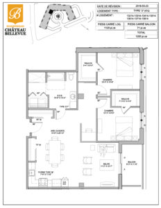 Château Bellevue Shawinigan – résidence pour aînés – plan logement 4½ J