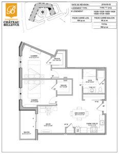 Château Bellevue Shawinigan – résidence pour aînés – plan logement 4½ T