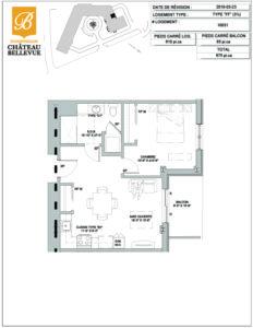 Château Bellevue Shawinigan – résidence pour aînés – plan logement 3½ FF