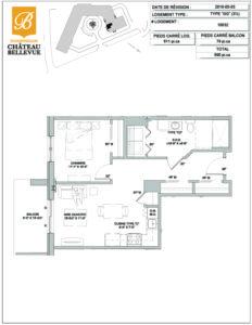 Château Bellevue Shawinigan – résidence pour aînés – plan logement 3½ GG