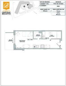 Château Bellevue Shawinigan – résidence pour aînés – plan studio DD
