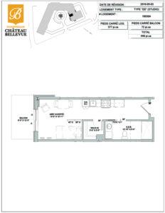 Château Bellevue Shawinigan – résidence pour aînés – plan studio DD inversé