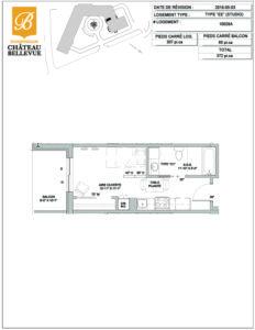 Château Bellevue Shawinigan – résidence pour aînés – plan studio EE