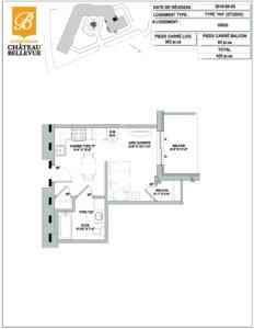 Château Bellevue Shawinigan – résidence pour aînés – plan studio HH
