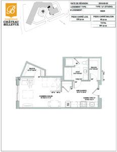 Château Bellevue Shawinigan – résidence pour aînés – plan studio JJ